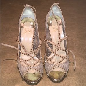 Nude & gold red bottom heels. BRAND NEW!!!